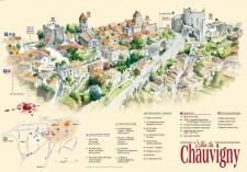 Plan aquarellé de Chauvigny