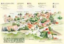 Plan de ville aquarellé de Saint-Symphorien