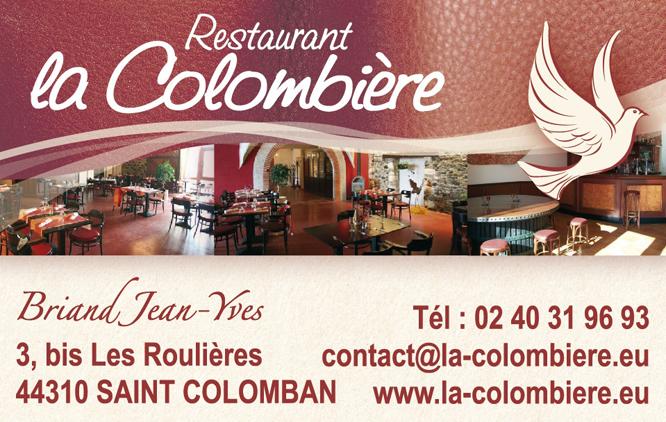 Carte De Visite Du Restaurant La Colombiere